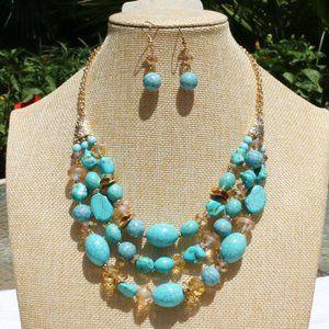 Boho Necklace Chunky Multi Strand Turquoise Bead